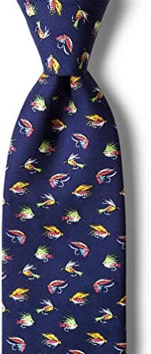 Navy Blue Fly Guy Fly Fishing Fisherman Necktie Tie Neckwear