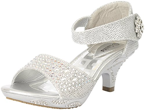 Lucita Jan 14Km Little Girls Rhinestone Heel Platform Dress Sandals Silver,Silver,2 - Kids High Heel Shoes
