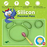 Silicone Placemat Plate for Feeding Kids | Non-slip All-In-One Design | BPA, PVC, Phthalate Free, Non-stick Dining Mat | Non-Toxic, FDA Approved | with FREE Spoon | Funny Panda Face from Kiddy Line