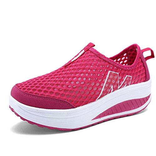 NGRDX&G Calzado Casual Moda Calzado Casual Dama Swing Pendiente Con Transpirable ROSE Red