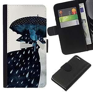 WINCASE Cuadro Funda Voltear Cuero Ranura Tarjetas TPU Carcasas Protectora Cover Case Para Apple Iphone 5C - lluvia mujer triste dama gris