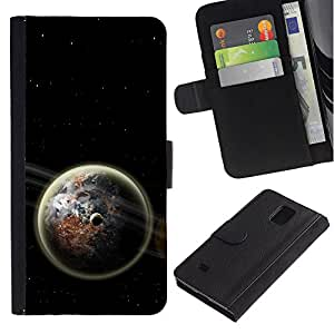 UNIQCASE - Samsung Galaxy Note 4 SM-N910 - Space Planet Galaxy Stars 61 - Cuero PU Delgado caso cubierta Shell Armor Funda Case Cover