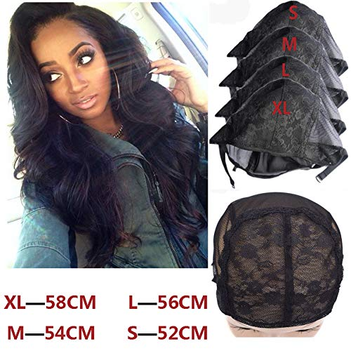 - 5 Pcs/Lot Stretch Mesh Lace Wig Caps For Making Wigs XL/L/M/S Adjustable Wig Caps Hair Nets Filet Pour Fabrication wigs 3M 2S