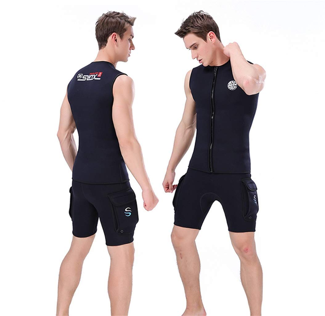WoCoo-Wetsuit Men 3mm Neoprene Surfing Suit Sleeveless Diving Suit Vest Snorkeling Swimming Vest Zipper Thermal Wetsuits(Black,X-Large) by WoCoo-Wetsuit