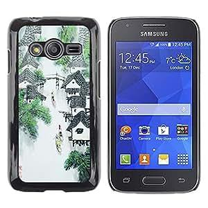TECHCASE**Cubierta de la caja de protección la piel dura para el ** Samsung Galaxy Ace 4 G313 SM-G313F ** China Waterfall River Mountain Village Art