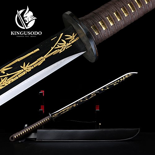 - KINGUSODO Black Ninja Sword, Full Tang 1045 Steel Handmade Japanese Sword Fighting Ready