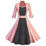 Summer-lavender Women's Vintage Square Collar Polka Dots Patchwork Slim Swing Casual 1950S Dresses,Pink,S