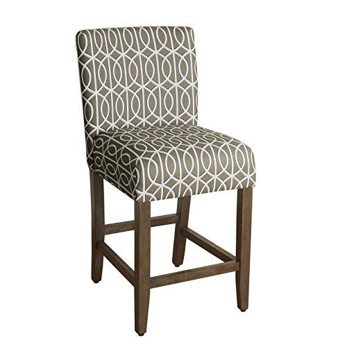 HomePop Kinfine Finley Upholstered Counter Height Barstool, 24-inch, Grey and Cream Trellis (Only Frame Stool Bar Cream)