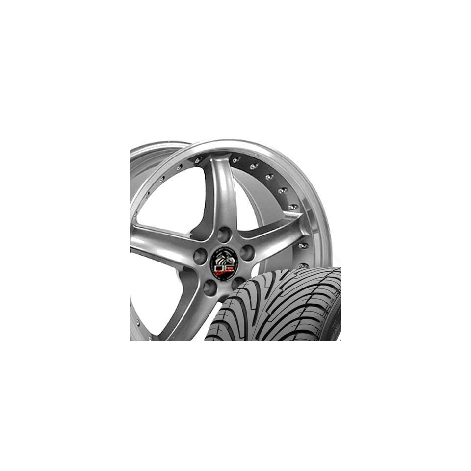 Cobra R Deep Dish Style Wheels and Tires with Rivets and Machined Lip Fits Mustang (R)   Gunmetal 18x9 Set of 4