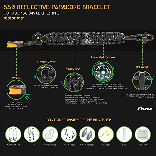 Survival-Bracelet-550-Premium-Black-Reflective-Paracord-Best-Outdoor-Emergency-First-Aid-Tool-Kit-19-in-1-Compass-Fire-Starter-Emergency-Knife-Whistle-Rescue-Rope-Food-Fishing-Gear