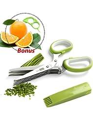 JesitaGear Herb Scissors Stainless Steel Multipurpose Kitchen Shear 5 Blades Cover With Cleaning Comb + Orange Opener Peeler Slicer Cutter Plastic Lemon Citrus Fruit Skin Remover (Style 1)