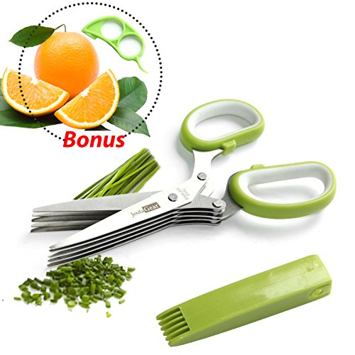 JesitaGear Herb Scissors Stainless Steel Multipurpose Kitchen Shear 5 Blades Cover With Cleaning Comb + Orange Opener Peeler Slicer Cutter Plastic Lemon Citrus Fruit Skin Remover (Style 1)