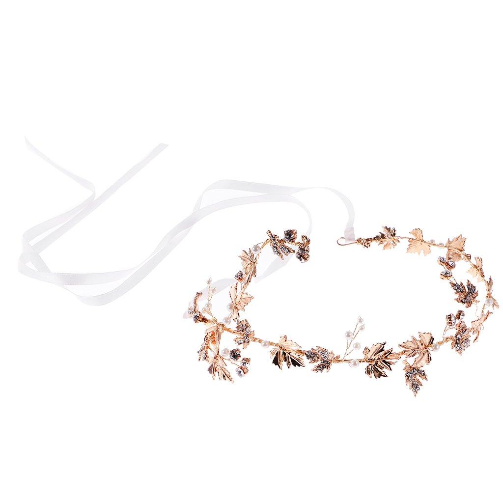 MonkeyJack Vintage Gold Women Ladies Pearl Rhinestone Leaf Wedding Bridal Hair Vines Tiara Headband Ribbon Hair Accessories