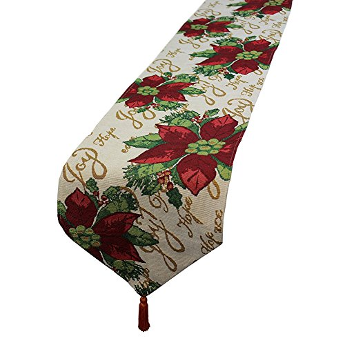 FinerMe Christmas Decorative Table Runner 13 x 71 inch Jacquard Weave Red Poinsettia Green Leaves Beige Christmas Flower Soft Table Cloth Home Wedding Party Table Decor (Runner Poinsettia Table)