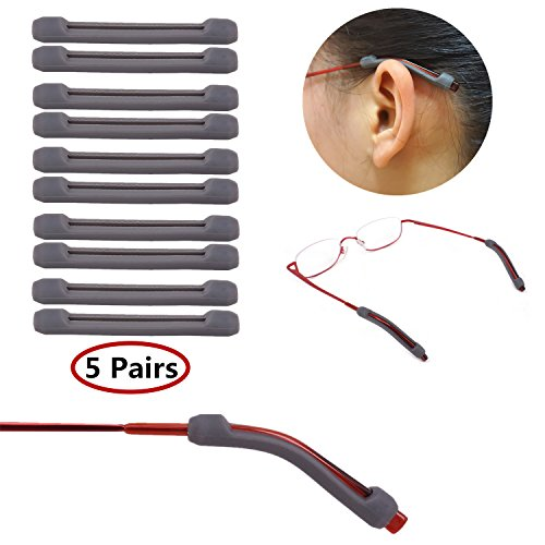 YR Soft Silicone Eyeglasses Temple Tips Sleeve Retainer,Anti-Slip Elastic Comfort Glasses Retainers For Spectacle Sunglasses Reading Glasses Eyewear,5 pairs -Gray