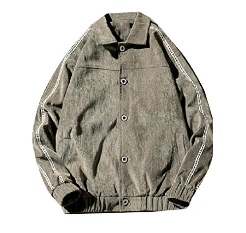 Warm Men Turn Winter Collar Jacket Corduroy Grey Fitness RkBaoye Fall Top Down BnZfxZw