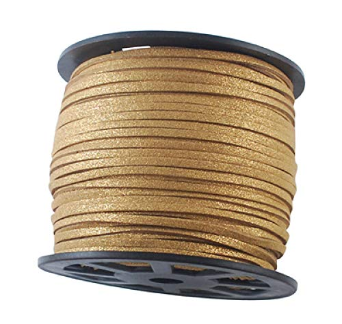 Fashewelry 100 Yards 3mm Wide Jewelry Making Flat Micro Fiber Lace Faux Suede Leather Cord Beading Thread (Gold)