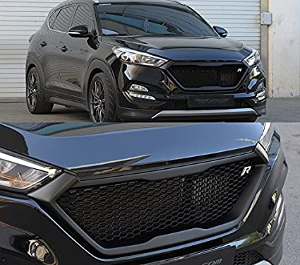 Roadruns Radiator Dress Up Grille Grill with R Badge For Hyundai Tucson  2016 2017 2018 (Matte Black)