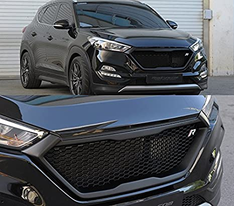 Roadruns Radiator Dress Up Grille Grill with R Badge For Hyundai Tucson  2016 2017 2018 (Glossy Black)