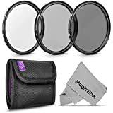 62MM Professional Photography Filter Kit (UV, Polarizer, Neutral Density ND4) for Camera Lens with 62MM Filter Thread + Filter Pouch + Premium MagicFiber Microfiber Cleaning Cloth