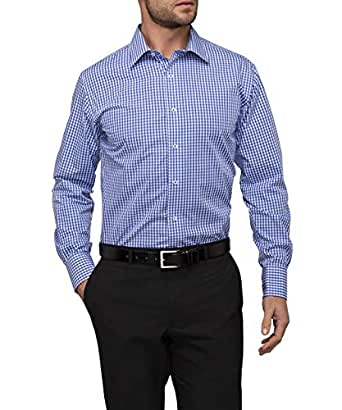 Van Heusen Men's Euro Tailored Fit Shirt Medium Check, Royal Blue, 42R