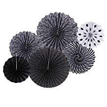 Paper Fans, HotPar Black White Paper Fans Decorations Double Sided Party Fans Garland Hanging with Paperclips for Birthday, Baby Shower, Wedding, Bridal shower, Happy Anniversary, Graduation, Event, Set of 6