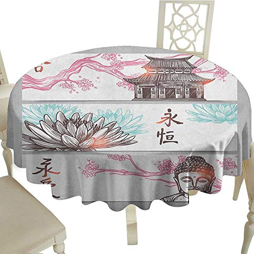 Rectangle Round Tablecloth 60 Inch Ancient China,Three-Part Asian Horizontal Banner Sketch of Pagoda Sakura Branch and Lotus Multicolor Great for,Party & - China Magnet Rectangle