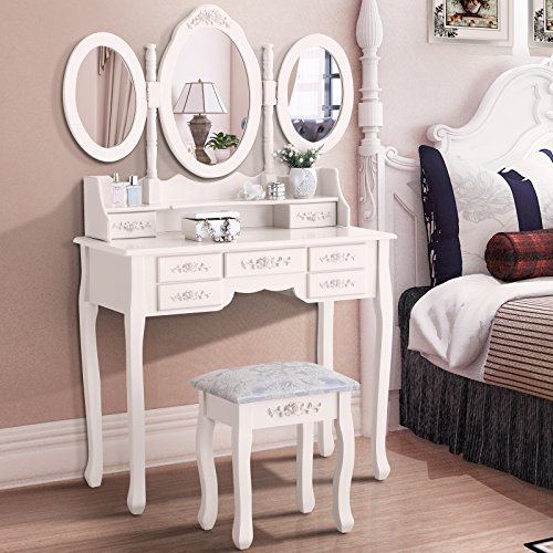 GTM Vanity Table 3 Folding Mirror with Stool & 7 Drawers, Iv