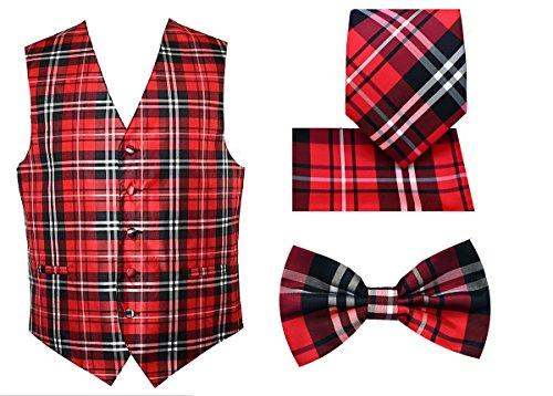 4pc Plaid Tuxedo Vest Set-Red-2XL ()