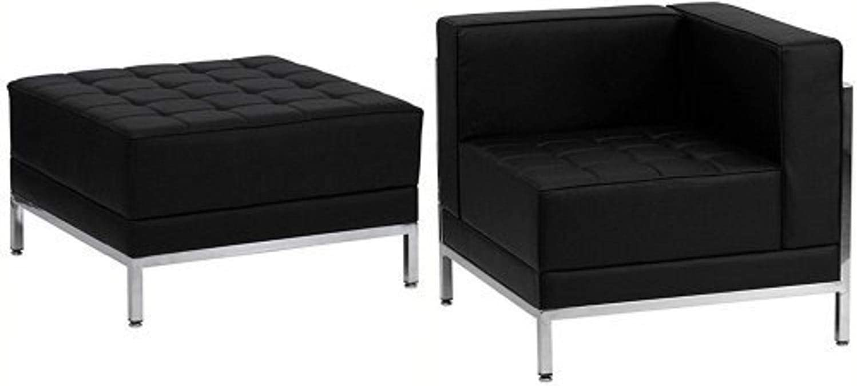 Flash Furniture HERCULES Imagination Series Black Leather 5 Piece Chair & Ottoman Set