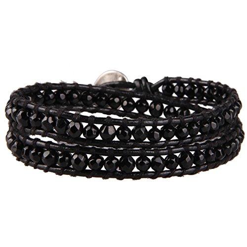 (KELITCH 2 Wraps Leather Black Onyx Bead Wrap)