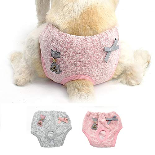Stock Show 2Pack Female Dog Diaper Cute Bowknot&Cat Decor Elastic Waist Soft Cotton Sanitary Physiological Shorts Pants Small Medium Girl Puppy Panties Underwear, Pink+Grey