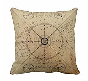 Amazon.com: Standard Size Pillow Cover Rustic Compass Throw Pillow Case 45 x 45 cm: Home & Kitchen