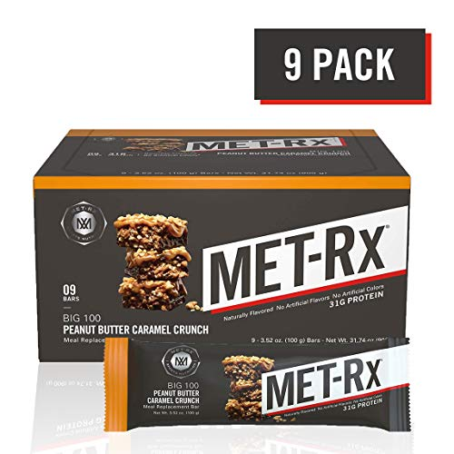 MET-Rx Big 100 Colossal Protein Bars, Great as Healthy Meal Replacement, Snack, and Help Support Energy, Gluten Free, Peanut Butter Caramel Crunch, 100 g, 9 Count
