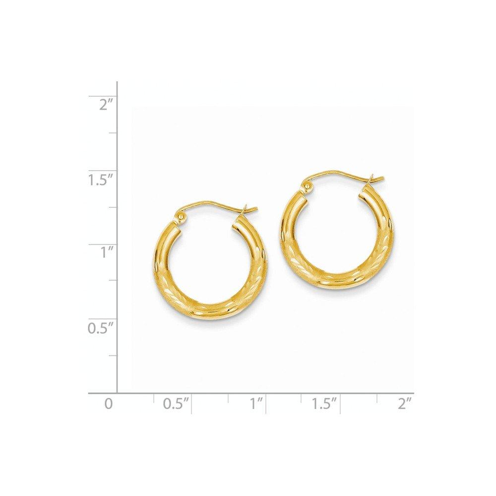 14k Yellow Gold Satin D.C 3MM Round Tube Earrings