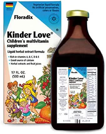 Salus Haus - Childrens Multivitamin Kinder Love Liquid 17 Ounce - Vitamins A, B, C, D, E, Calcium, Magnesium - Kosher, Non GMO, Vegetarian