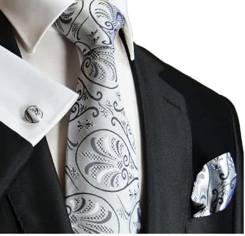 Extra Long Paul Malone Silk Tie and Accessories . Silver
