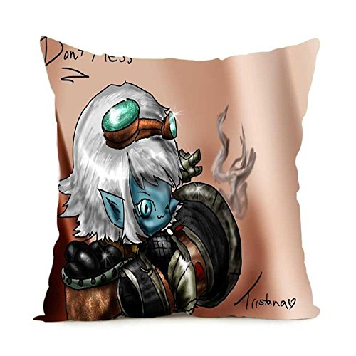 Unique Style Tristana Sona Throw Pillow Covers Zippered Square Twin Sides Pillow Case 18x18 Inch