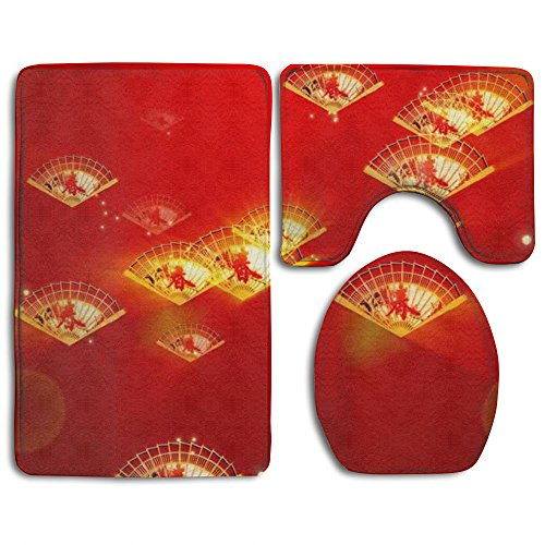 Chinese Fans Durable Bathroom Rugs Set Environmental Protection Contour Bath Rug Shaggy Lid Toilet Cover And Bath Mat