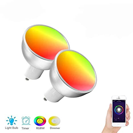 Bombillas LED Inteligentes Wi-Fi, GU10 Dimmable Copas Inteligentes de Luz Multicolor con Control