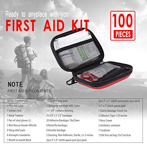 TIANBO FIRST First Aid Kit for Survival and Emergencies Light, Waterproof, Compact and Comprehensive Perfect for Hiking, Backpacking, Camping, Travel, Car & Cycling, Outdoors or Sports
