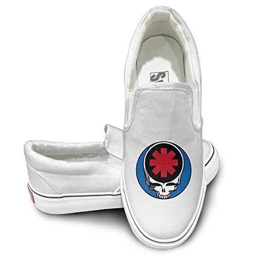 Cobain Red Hot Chili Peppers Unisex Athletic Flat Canvas Shoes Sneaker 44 White - Funny Wrecking Ball Costume
