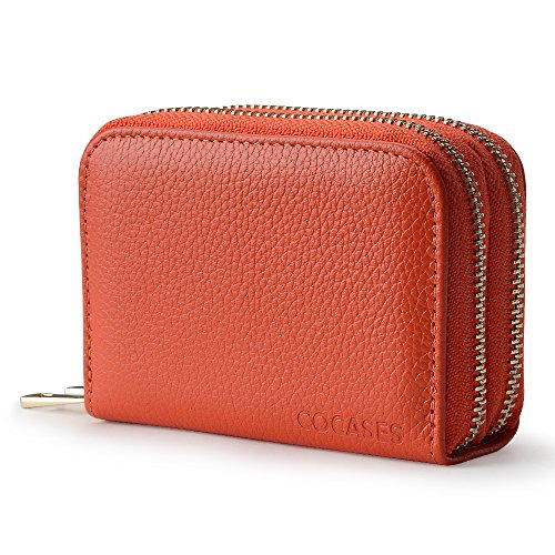 Women Wallet, COCASES RFID Blocking Genuine Leather Double Zipper Credit Card Holder Coin Pocket (Orange) by COCASES