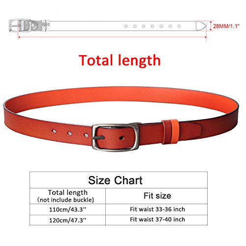 Reversible Brown Women Belt Cowhide Leather, Adjustable Ladies Jeans Belt Size Up 40 DIY Trim Down Belt Strap by MoAnBee