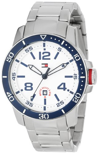 Tommy Hilfiger 1790846 Stainless Steel with Blue Bezel Sport Watch (Flag Dial Bezel)