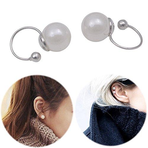 U Studs Faux Pearl Ear Crawler Earrings Cuffs Climber Ear Wrap Pin Vine Non-pierced Charms Clip On Jewelry Silver Pearl Silver Vine Pattern Earrings