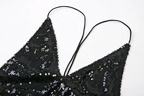 Black Sparkling Tank EZON Dress Sequin Sexy CH Women's q4HwT0t