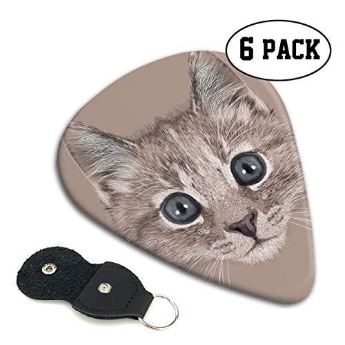 Guitar Picks 6 pcs,Portrait Of Domestic Cat Cute Face Baby Kitten Pet Whiskers Fluffy Feline ()