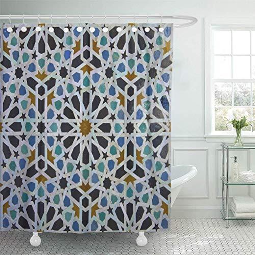 WSHINE 70.9 x 70.9 Inches Fabric Shower Curtain Bathroom Accessories Blue Zellige Moroccan Pattern in Riad FES Morocco Green Zilij Casablanca Musulman Bath Curtains Set (Best Riads In Morocco)