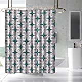 Fakgod Modern Shower Curtain with Hooks Abstract Composition of Geometrical Shapes in Pastel Colors Contemporary Design Bathroom Decoration W108 x L72 Multicolor